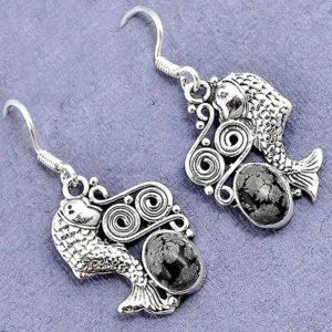 Snowflake Obsidian 925 Sterling Silver Earrings